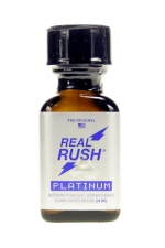Poppers real rush platinum 24ml - Arôme real rush platinum, l'original, au nitrite de pentyle, en flacon de 24 ml.